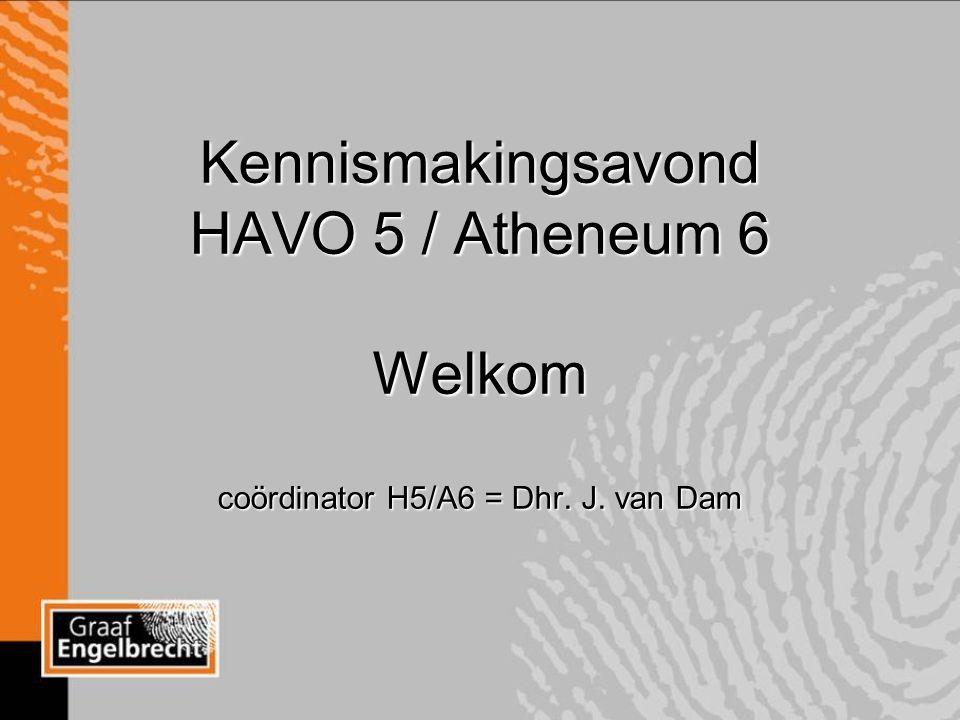 Kennismakingsavond HAVO 5 / Atheneum 6 Welkom coördinator H5/A6 = Dhr. J. van Dam