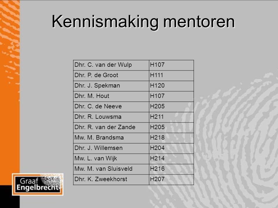 Kennismaking mentoren Dhr. C. van der WulpH107 Dhr.