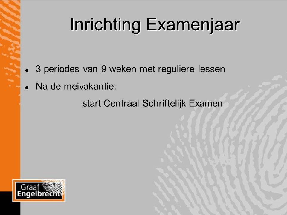 Inrichting Examenjaar l 3 periodes van 9 weken met reguliere lessen l Na de meivakantie: start Centraal Schriftelijk Examen