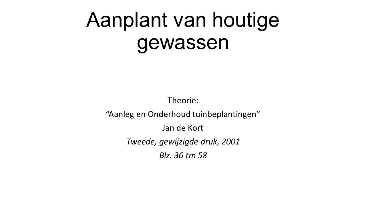 """Aanplant van houtige gewassen Theorie: """"Aanleg en Onderhoud tuinbeplantingen"""" Jan de Kort Tweede, gewijzigde druk, 2001 Blz. 36 tm 58"""