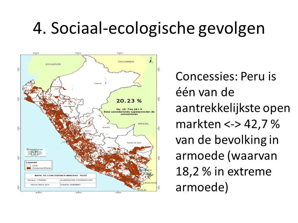 4. Sociaal-ecologische gevolgen Concessies: Peru is één van de aantrekkelijkste open markten 42,7 % van de bevolking in armoede (waarvan 18,2 % in ext