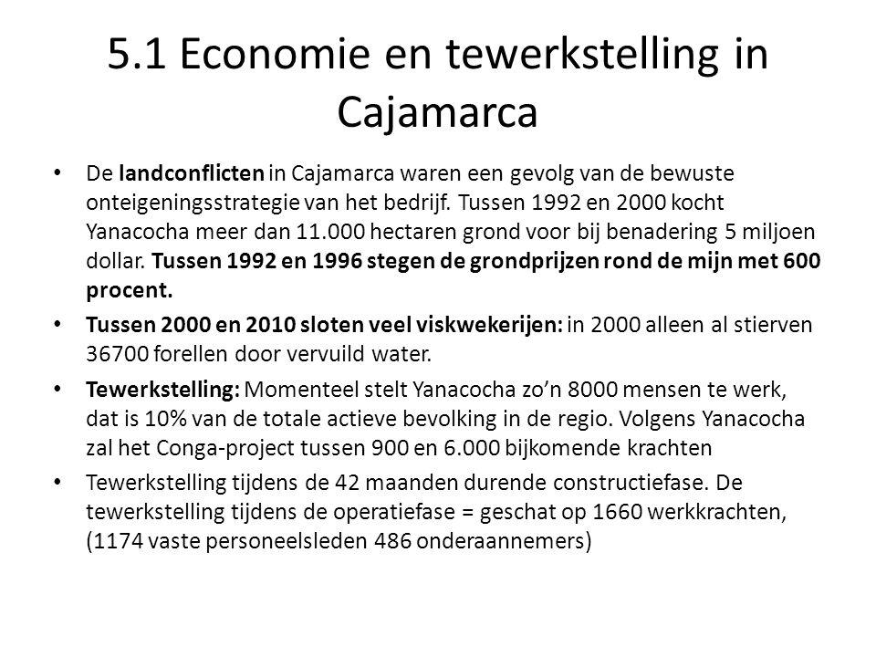 5.1 Economie en tewerkstelling in Cajamarca De landconflicten in Cajamarca waren een gevolg van de bewuste onteigeningsstrategie van het bedrijf.