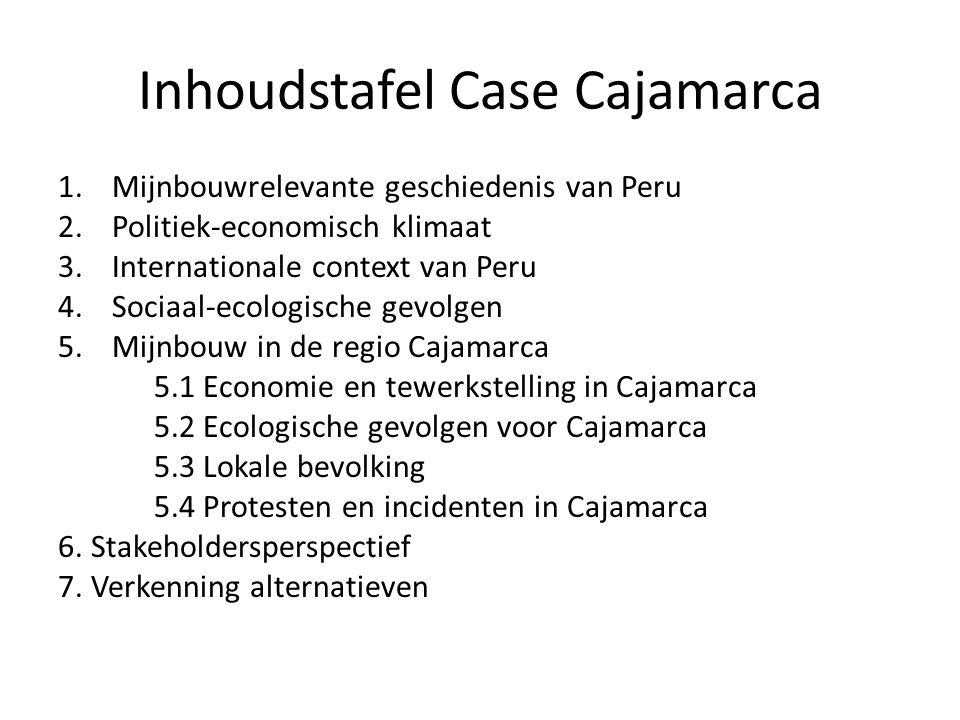 Inhoudstafel Case Cajamarca 1.Mijnbouwrelevante geschiedenis van Peru 2.Politiek-economisch klimaat 3.Internationale context van Peru 4.Sociaal-ecologische gevolgen 5.Mijnbouw in de regio Cajamarca 5.1 Economie en tewerkstelling in Cajamarca 5.2 Ecologische gevolgen voor Cajamarca 5.3 Lokale bevolking 5.4 Protesten en incidenten in Cajamarca 6.