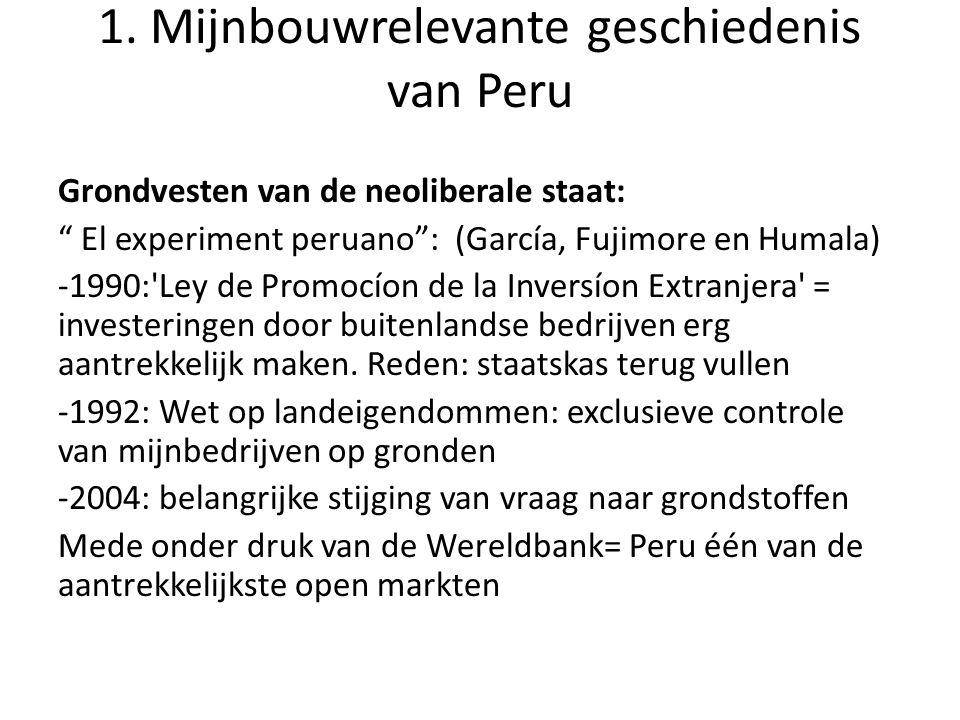 """1. Mijnbouwrelevante geschiedenis van Peru Grondvesten van de neoliberale staat: """" El experiment peruano"""": (García, Fujimore en Humala) -1990:'Ley de"""