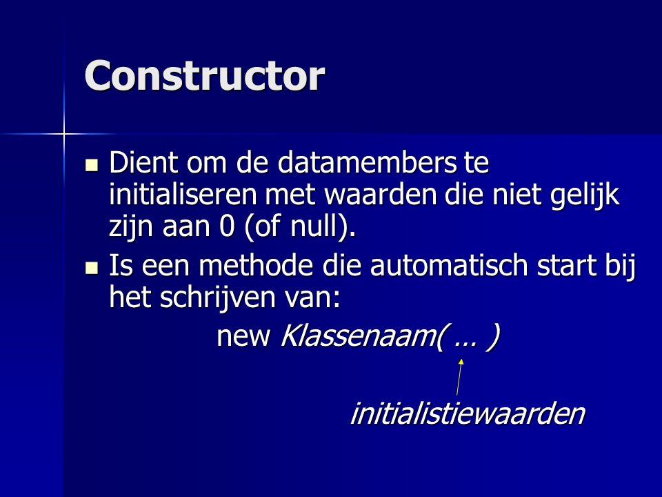 Constructor Is een methode die automatisch start bij het schrijven van: Is een methode die automatisch start bij het schrijven van: new Klassenaam( … ) initialistiewaarden