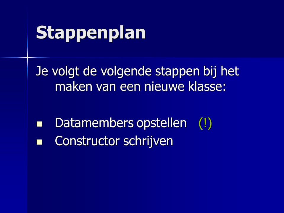 Stappenplan Je volgt de volgende stappen bij het maken van een nieuwe klasse: Datamembers opstellen (!) Datamembers opstellen (!) Constructor schrijven Constructor schrijven