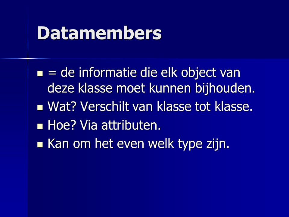 Stappenplan Je volgt de volgende stappen bij het maken van een nieuwe klasse: Datamembers opstellen (!) Datamembers opstellen (!) Constructor schrijven Constructor schrijven Methods schrijven Methods schrijven