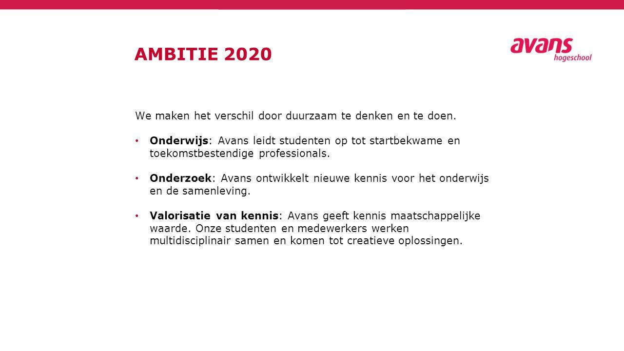 AMBITIE 2020 We maken het verschil door duurzaam te denken en te doen. Onderwijs: Avans leidt studenten op tot startbekwame en toekomstbestendige prof