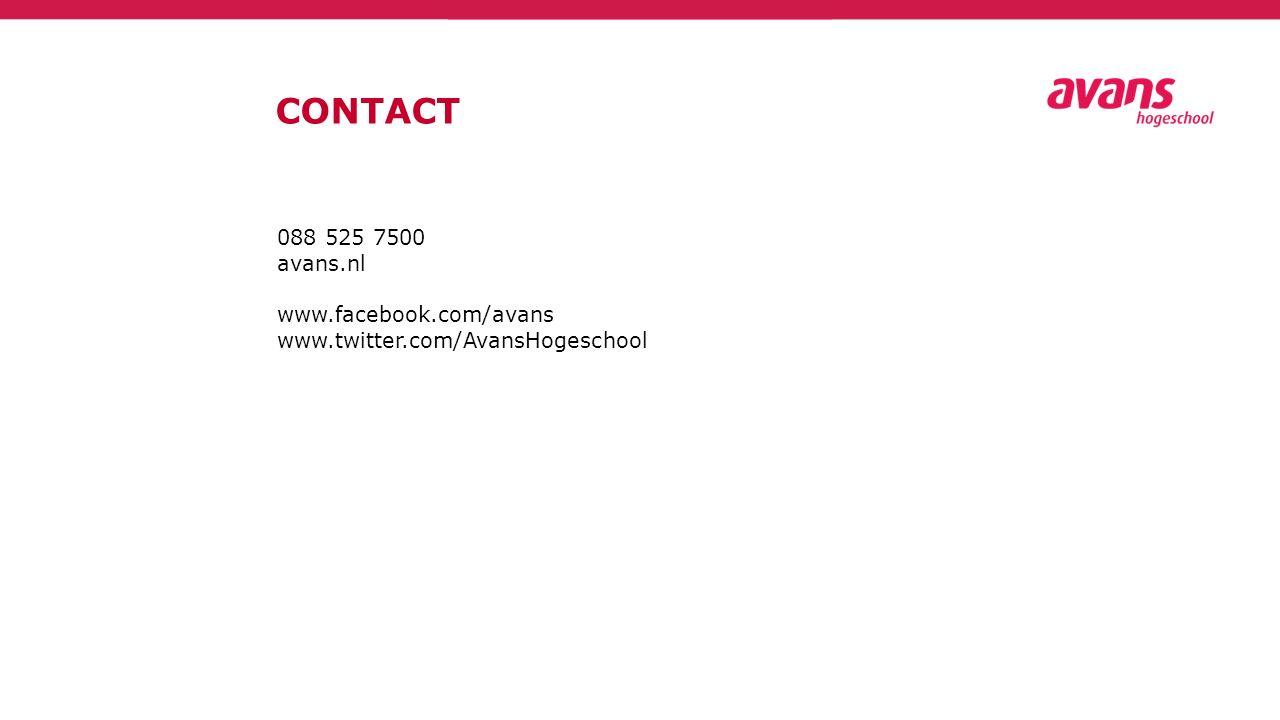 CONTACT 088 525 7500 avans.nl www.facebook.com/avans www.twitter.com/AvansHogeschool