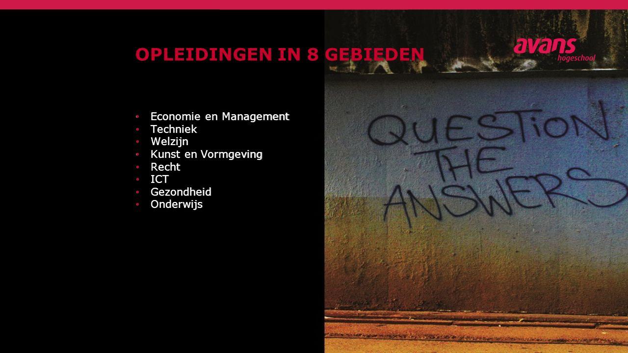 OPLEIDINGEN IN 8 GEBIEDEN Economie en Management Economie en Management Techniek Techniek Welzijn Welzijn Kunst en Vormgeving Kunst en Vormgeving Recht Recht ICT ICT Gezondheid Gezondheid Onderwijs Onderwijs