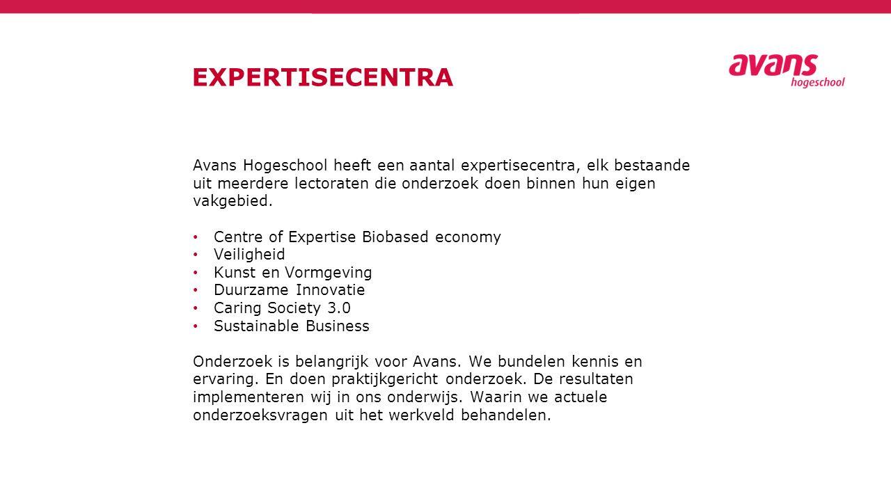 EXPERTISECENTRA Avans Hogeschool heeft een aantal expertisecentra, elk bestaande uit meerdere lectoraten die onderzoek doen binnen hun eigen vakgebied