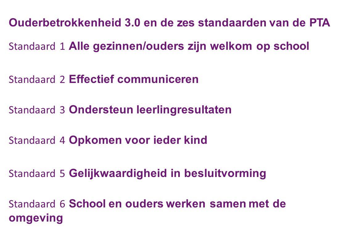 Ouderbetrokkenheid 3.0 en de zes standaarden van de PTA Standaard 1 Alle gezinnen/ouders zijn welkom op school Standaard 2 Effectief communiceren Stan