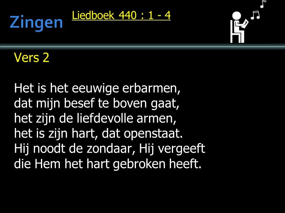 Liedboek 440 : 1 - 4 Vers 2 Het is het eeuwige erbarmen, dat mijn besef te boven gaat, het zijn de liefdevolle armen, het is zijn hart, dat openstaat.