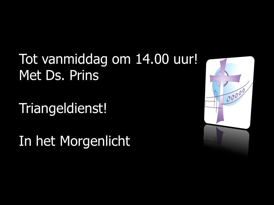 Tot vanmiddag om 14.00 uur! Met Ds. Prins Triangeldienst! In het Morgenlicht