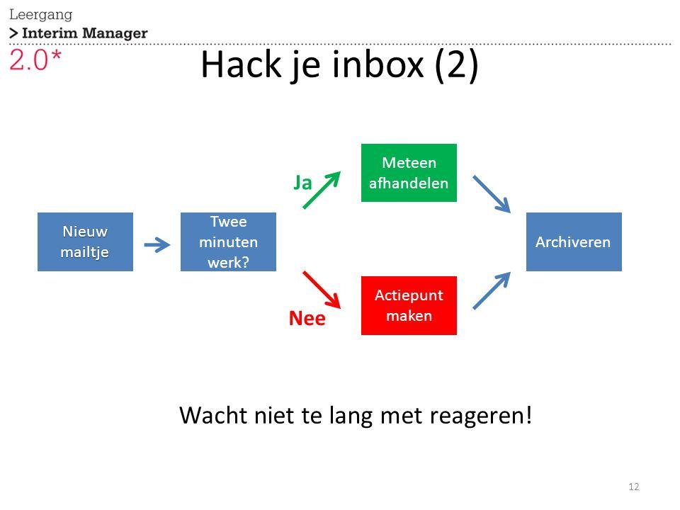 Nieuw mailtje Twee minuten werk? Meteen afhandelen Actiepunt maken Archiveren Ja Nee Hack je inbox (2) 12 Wacht niet te lang met reageren!