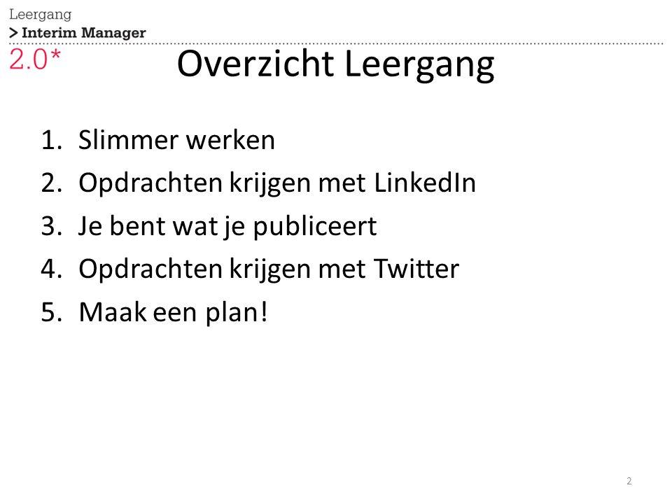 Overzicht Leergang 1.Slimmer werken 2.Opdrachten krijgen met LinkedIn 3.Je bent wat je publiceert 4.Opdrachten krijgen met Twitter 5.Maak een plan! 2