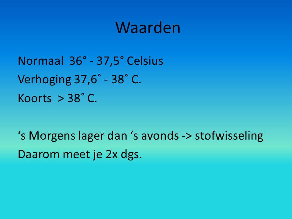 Waarden Normaal 36° - 37,5° Celsius Verhoging 37,6˚ - 38˚ C.