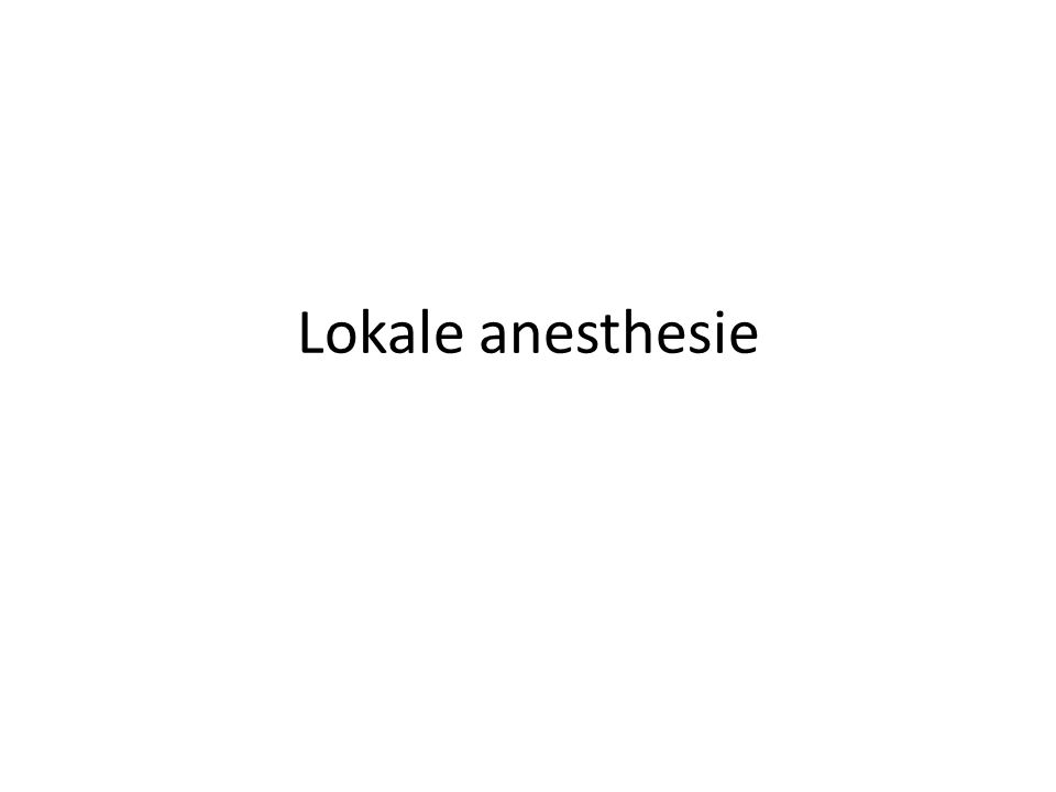 Lokale anesthesie
