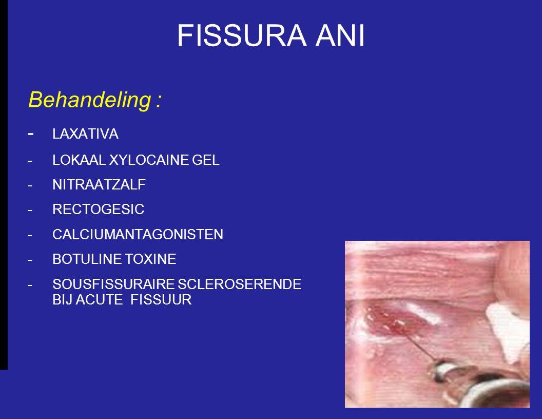 FISSURA ANI Behandeling : - LAXATIVA - LOKAAL XYLOCAINE GEL - NITRAATZALF - RECTOGESIC - CALCIUMANTAGONISTEN - BOTULINE TOXINE - SOUSFISSURAIRE SCLERO