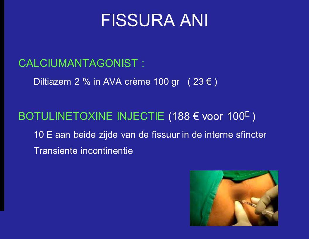 FISSURA ANI CALCIUMANTAGONIST : Diltiazem 2 % in AVA crème 100 gr ( 23 € ) BOTULINETOXINE INJECTIE (188 € voor 100 E ) 10 E aan beide zijde van de fis