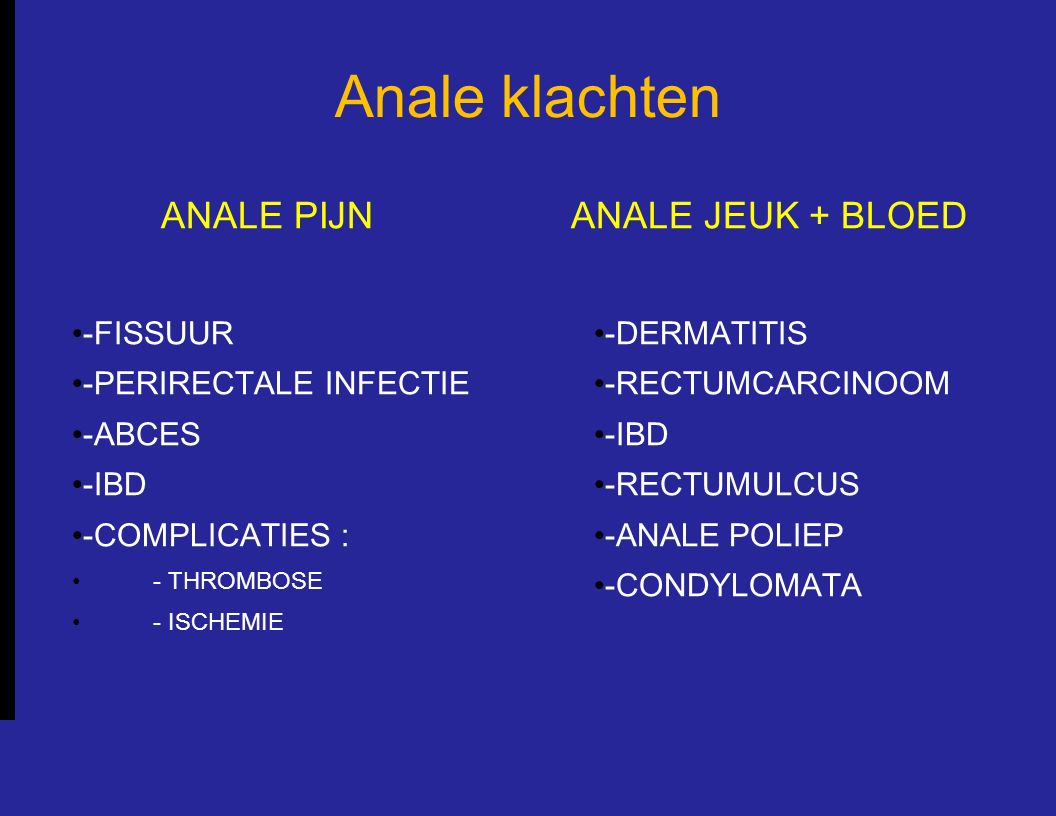 Anale klachten ANALE PIJN -FISSUUR -PERIRECTALE INFECTIE -ABCES -IBD -COMPLICATIES : - THROMBOSE - ISCHEMIE ANALE JEUK + BLOED -DERMATITIS -RECTUMCARC