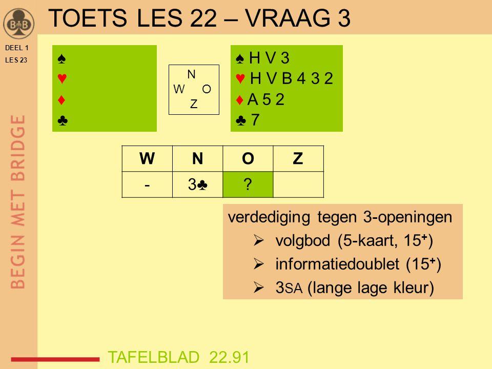 DEEL 1 LES 23 ♠♥♦♣♠♥♦♣ N W O Z WNOZ -3♣.