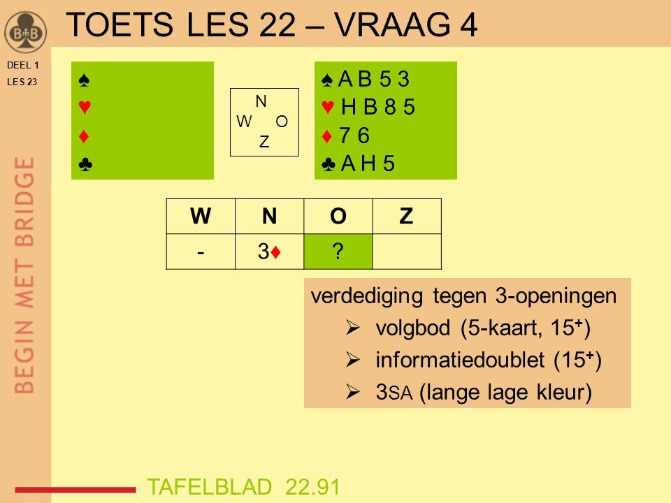 DEEL 1 LES 23 ♠♥♦♣♠♥♦♣ N W O Z WNOZ -3♦3♦.