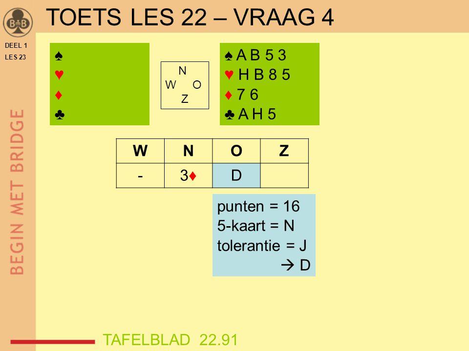 DEEL 1 LES 23 ♠♥♦♣♠♥♦♣ N W O Z WNOZ -3♦3♦D ♠ A B 5 3 ♥ H B 8 5 ♦ 7 6 ♣ A H 5 punten = 16 5-kaart = N tolerantie = J  D TAFELBLAD 22.91 TOETS LES 22 – VRAAG 4
