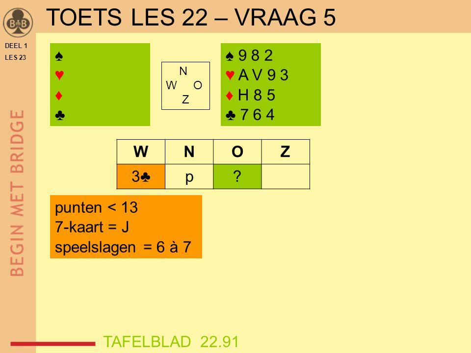 DEEL 1 LES 23 ♠♥♦♣♠♥♦♣ N W O Z WNOZ 3♣p.