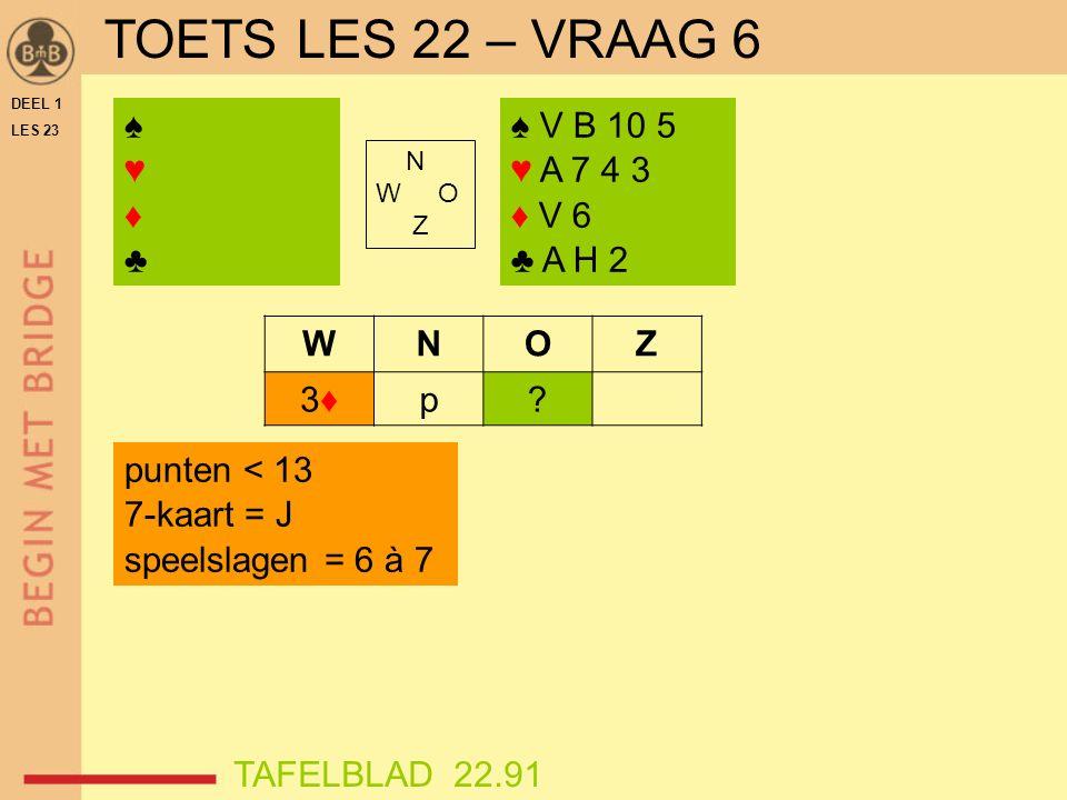DEEL 1 LES 23 ♠♥♦♣♠♥♦♣ N W O Z WNOZ 3♦3♦p.