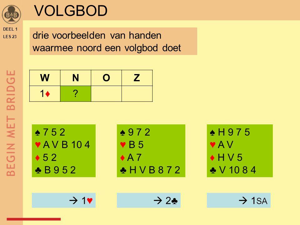 DEEL 1 LES 23 ♠ 9 7 2 ♥ B 5 ♦ A 7 ♣ H V B 8 7 2 WNOZ 1♦1♦.