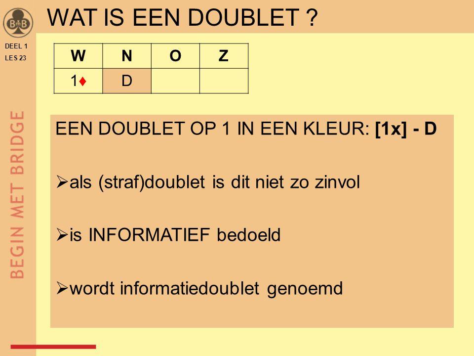 DEEL 1 LES 23 WNOZ 1♦1♦D WAT IS EEN DOUBLET .