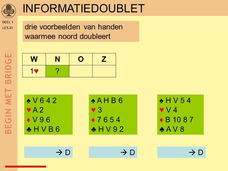 DEEL 1 LES 23 ♠ A H B 6 ♥ 3 ♦ 7 6 5 4 ♣ H V 9 2 WNOZ 1♥1♥.