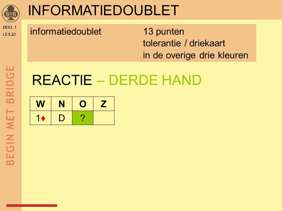 DEEL 1 LES 23 REACTIE – DERDE HAND WNOZ 1♦1♦D.