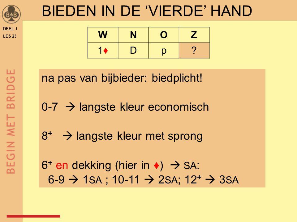 DEEL 1 LES 23 WNOZ 1♦1♦Dp. BIEDEN IN DE 'VIERDE' HAND na pas van bijbieder: biedplicht.
