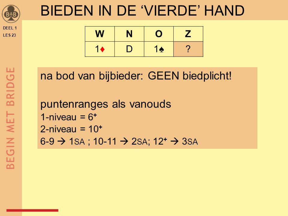 DEEL 1 LES 23 WNOZ 1♦1♦D1♠1♠. BIEDEN IN DE 'VIERDE' HAND na bod van bijbieder: GEEN biedplicht.