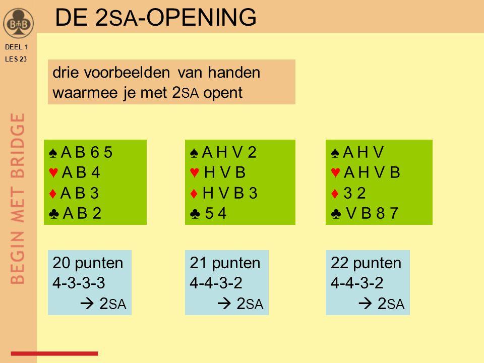 DEEL 1 LES 23 ♠ A H V 2 ♥ H V B ♦ H V B 3 ♣ 5 4 ♠ A H V ♥ A H V B ♦ 3 2 ♣ V B 8 7 ♠ A B 6 5 ♥ A B 4 ♦ A B 3 ♣ A B 2 drie voorbeelden van handen waarmee je met 2 SA opent 20 punten 4-3-3-3  2 SA 21 punten 4-4-3-2  2 SA 22 punten 4-4-3-2  2 SA DE 2 SA -OPENING
