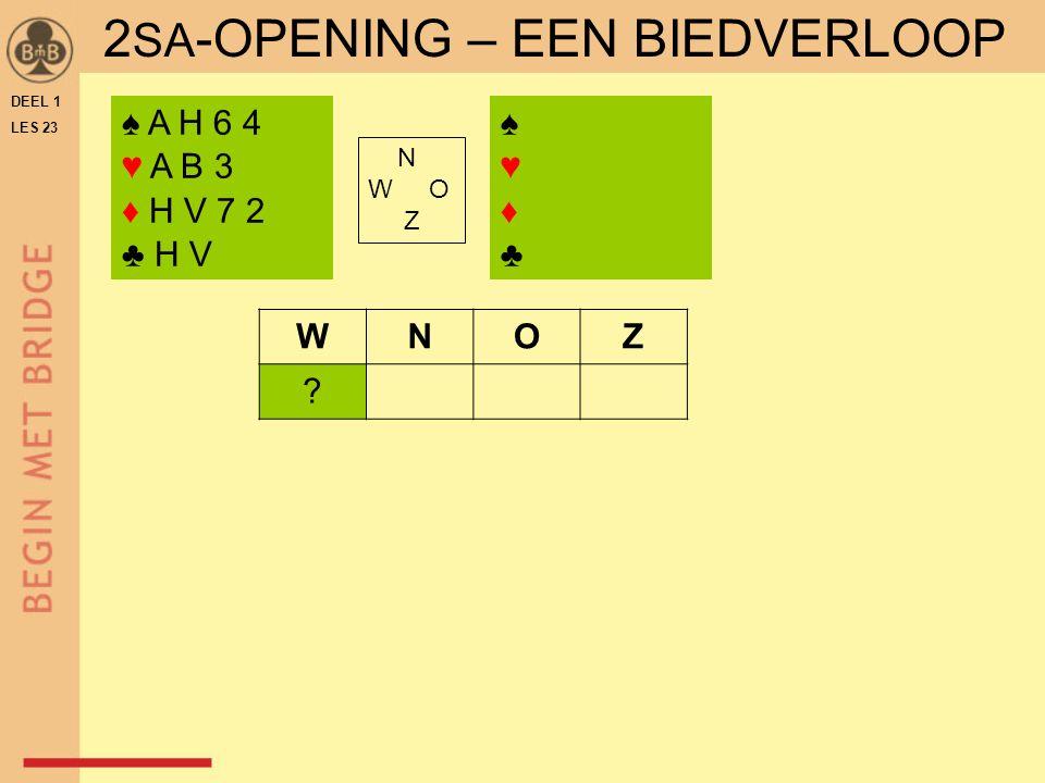 DEEL 1 LES 23 2 SA -OPENING – EEN BIEDVERLOOP ♠ A H 6 4 ♥ A B 3 ♦ H V 7 2 ♣ H V ♠♥♦♣♠♥♦♣ N W O Z WNOZ