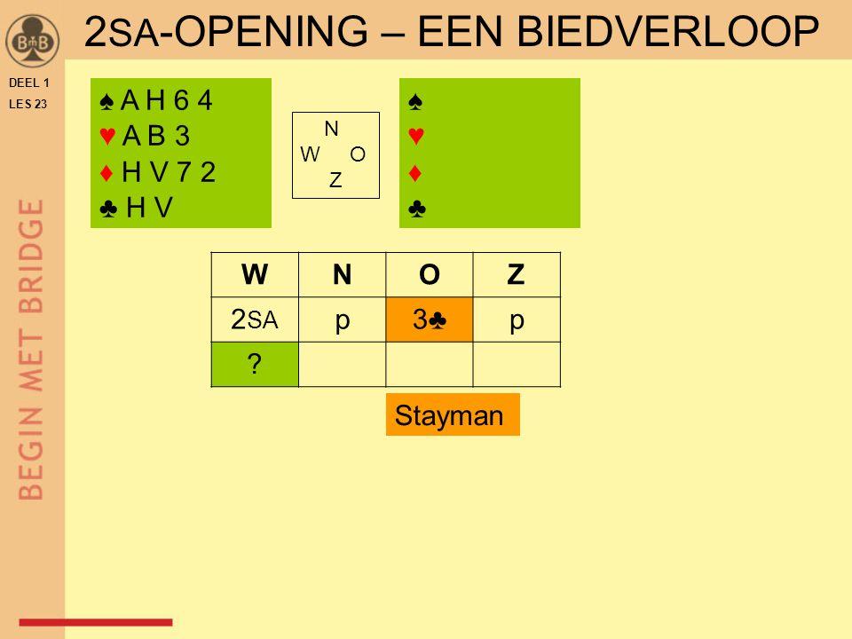 DEEL 1 LES 23 ♠ A H 6 4 ♥ A B 3 ♦ H V 7 2 ♣ H V ♠♥♦♣♠♥♦♣ N W O Z WNOZ 2 SA p3♣p .