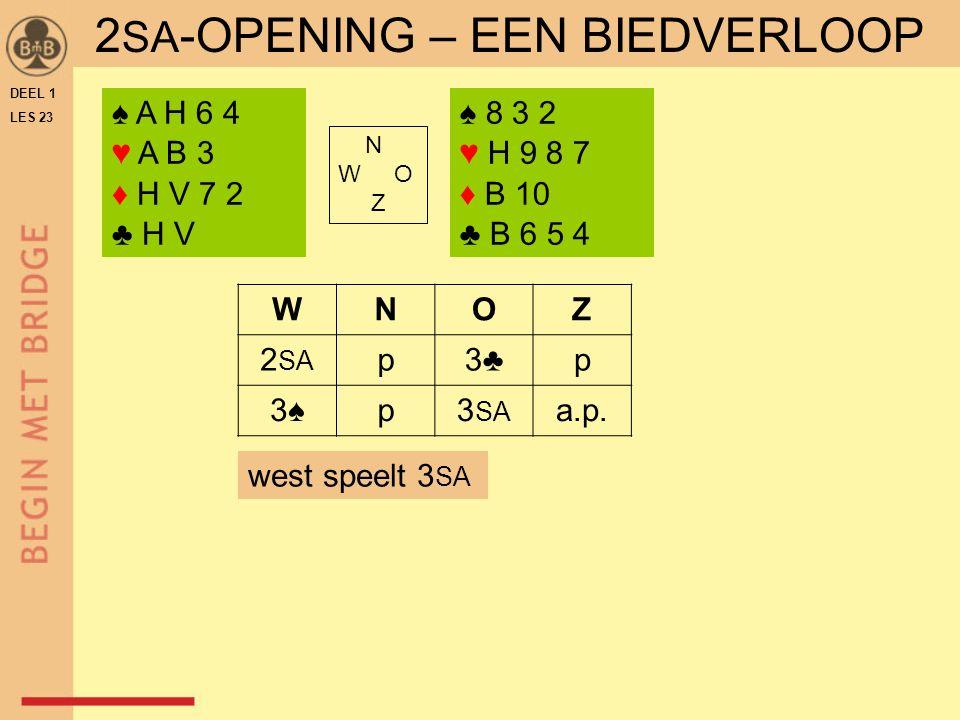 DEEL 1 LES 23 ♠ A H 6 4 ♥ A B 3 ♦ H V 7 2 ♣ H V ♠ 8 3 2 ♥ H 9 8 7 ♦ B 10 ♣ B 6 5 4 N W O Z WNOZ 2 SA p3♣p 3♠3♠p3 SA a.p.
