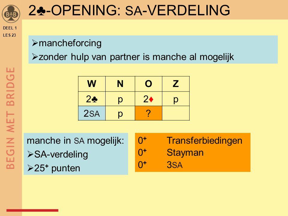 DEEL 1 LES 23 manche in SA mogelijk:  SA-verdeling  25 + punten WNOZ 2♣p2♦2♦p 2 SA p.