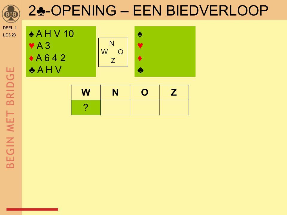 DEEL 1 LES 23 2♣-OPENING – EEN BIEDVERLOOP ♠ A H V 10 ♥ A 3 ♦ A 6 4 2 ♣ A H V ♠♥♦♣♠♥♦♣ N W O Z WNOZ