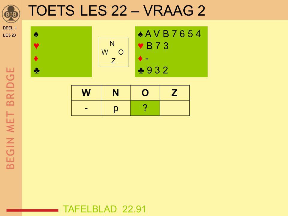 DEEL 1 LES 23 ♠♥♦♣♠♥♦♣ N W O Z WNOZ -p.