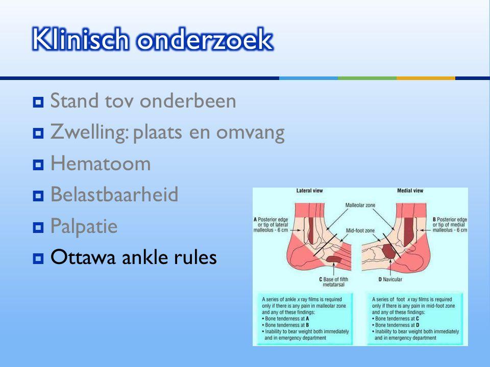  Stand tov onderbeen  Zwelling: plaats en omvang  Hematoom  Belastbaarheid  Palpatie  Ottawa ankle rules