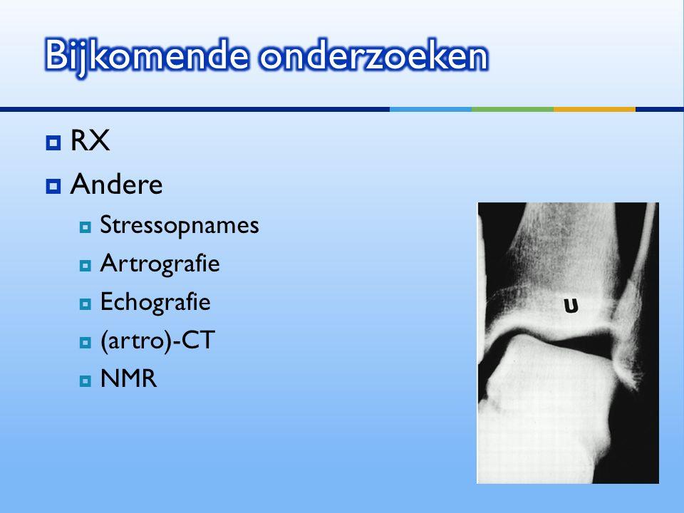  RX  Andere  Stressopnames  Artrografie  Echografie  (artro)-CT  NMR