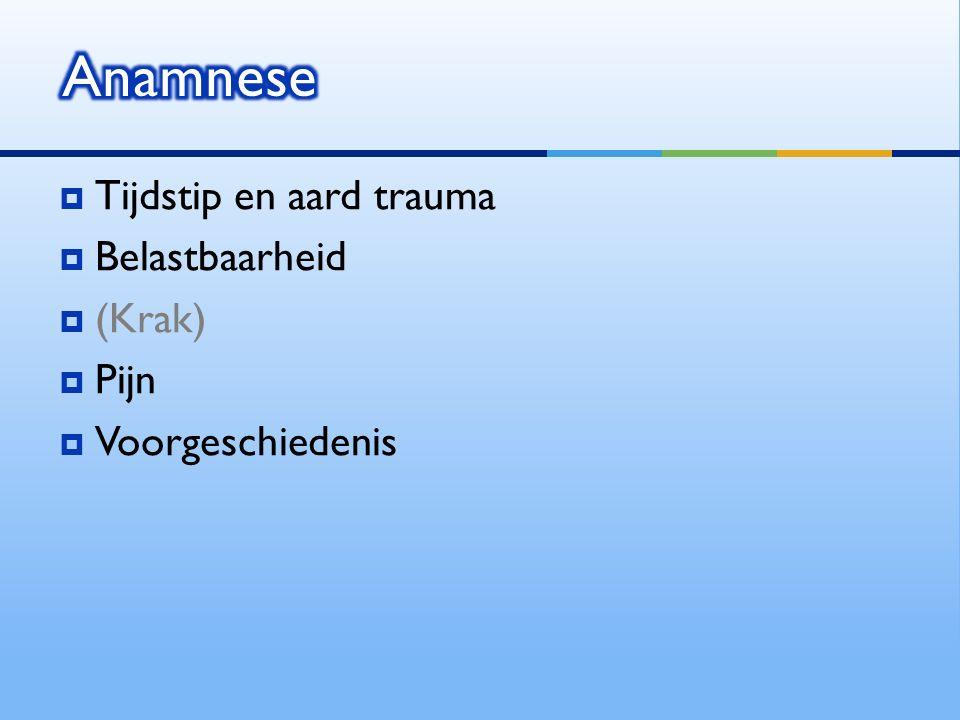  Tijdstip en aard trauma  Belastbaarheid  (Krak)  Pijn  Voorgeschiedenis