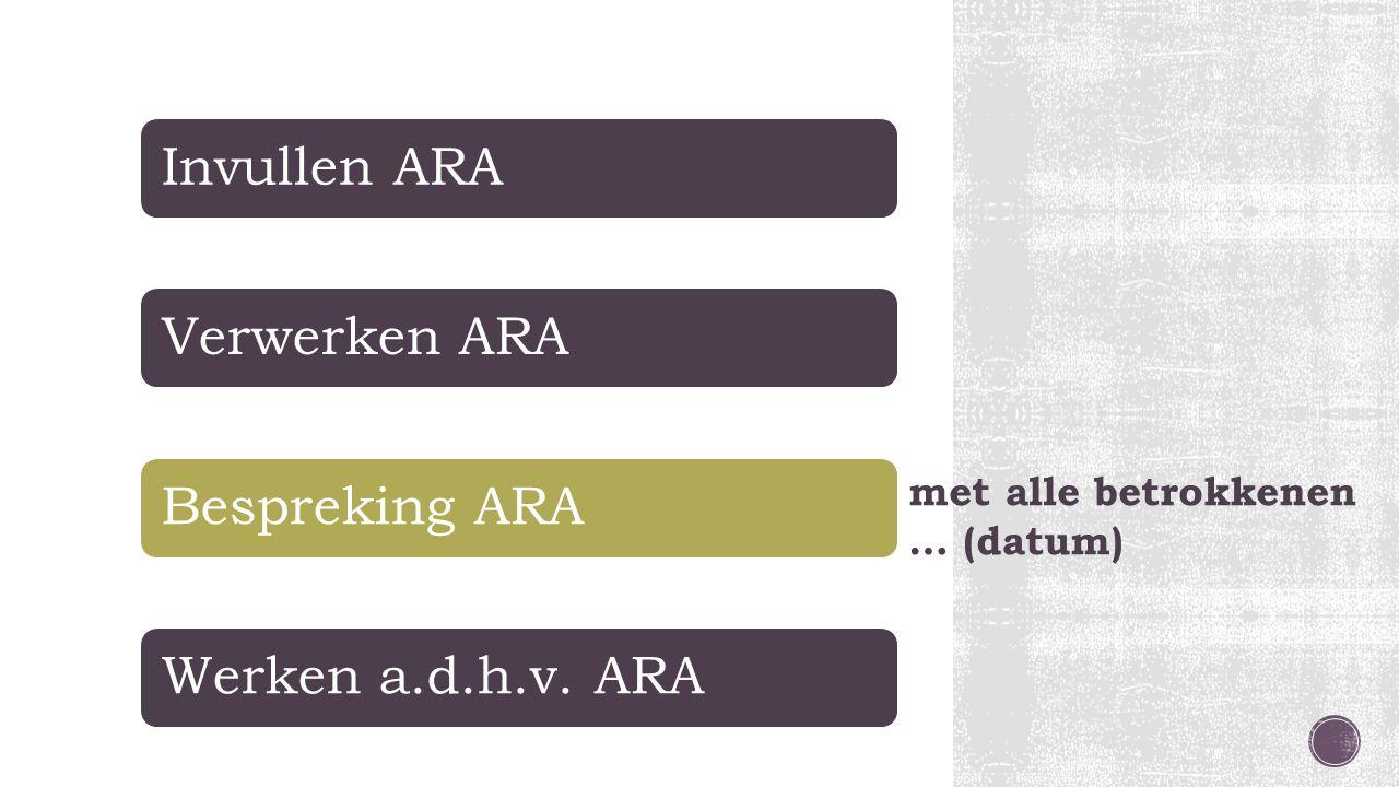 Hoe nu verder? Invullen ARAVerwerken ARABespreking ARAWerken a.d.h.v. ARA