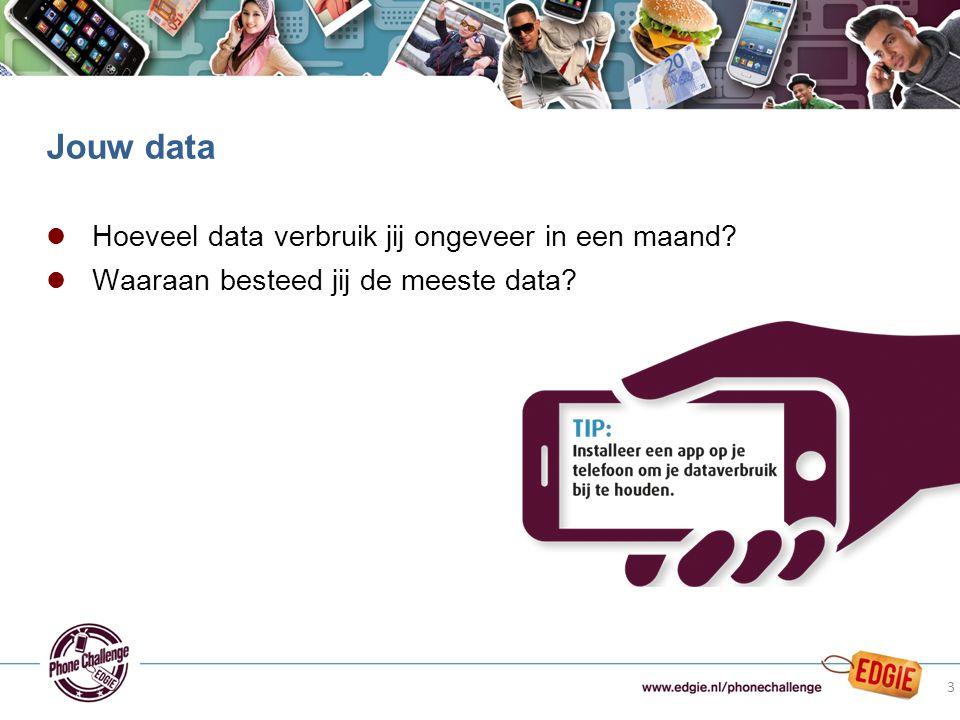 l Hoeveel data verbruik jij ongeveer in een maand? l Waaraan besteed jij de meeste data? Jouw data 3