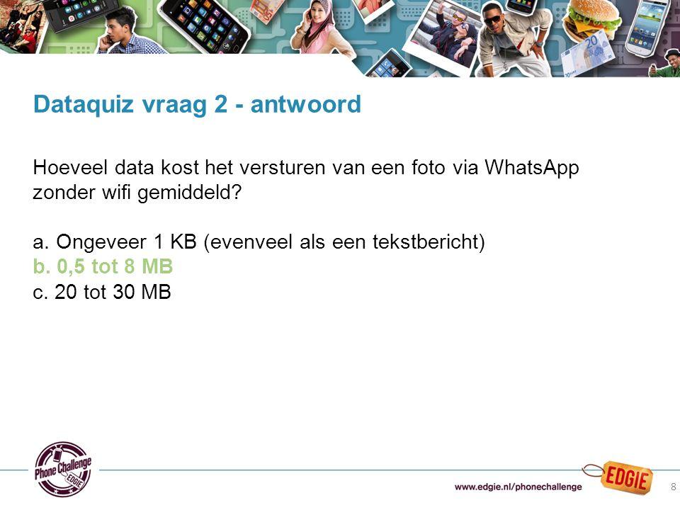 8 Hoeveel data kost het versturen van een foto via WhatsApp zonder wifi gemiddeld? a. Ongeveer 1 KB (evenveel als een tekstbericht) b. 0,5 tot 8 MB c.