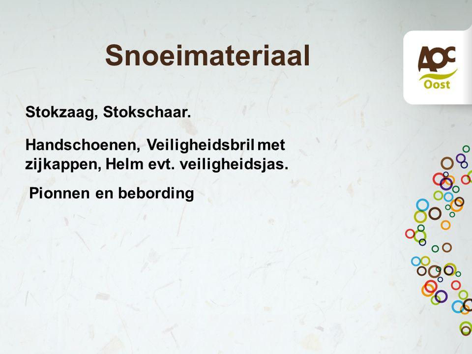 Snoeimateriaal Stokzaag, Stokschaar.Handschoenen, Veiligheidsbril met zijkappen, Helm evt.